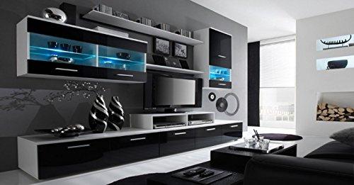 home innovation glanzlack wohnwand wohnzimmer wohnzimmerschrank anbauwand esszimmer mit leds weiss matt und schwarz lackiert masse 250 x 194 x 42 cm tiefe - Wohnwand - ein Klassiker kehrt zurück