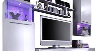 51kKe9H+6cL 310x165 - trendteam Wohnzimmer Anbauwand Wohnwand Wohnzimmerschrank Punch, 228 x 183 x 47 cm in Korpus Weiß, Front Weiß Glanz mit LED Farbwechselbeleuchtung