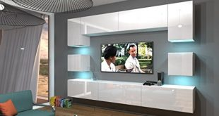 Home Direct NOWARA N1 Modernes Wohnzimmer Wohnwaende Wohnschraenke Schrankwand Weiss 310x165 - Home Direct NOWARA N1, Modernes Wohnzimmer, Wohnwände, Wohnschränke, Schrankwand (Weiß MAT Base/Weiß HG Front, LED RGB 16 Farben)