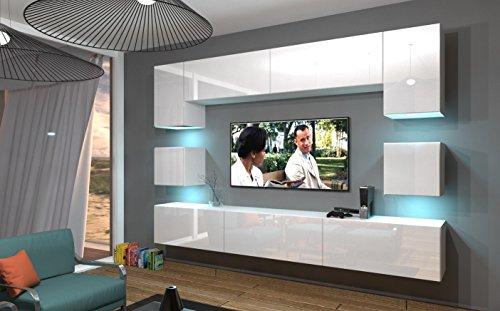 Home Direct NOWARA N1 Modernes Wohnzimmer Wohnwaende Wohnschraenke Schrankwand Weiss - Home Direct NOWARA N1, Modernes Wohnzimmer, Wohnwände, Wohnschränke, Schrankwand (Weiß MAT Base/Weiß HG Front, LED RGB 16 Farben)