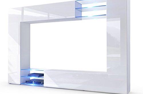 Vladon Wohnwand Anbauwand Mirage Korpus in Weiss mattFronten in Weiss 500x330 - Vladon Wohnwand Anbauwand Mirage, Korpus in Weiß matt/Fronten in Weiß Hochglanz inkl. LED Beleuchtung