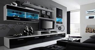 Home Innovation Glanzlack Wohnwand Wohnzimmer Wohnzimmerschrank Anbauwand Esszimmer mit 310x165 - Home Innovation - Glanzlack Wohnwand, Wohnzimmer, Wohnzimmerschrank, Anbauwand, Esszimmer mit LEDs, weiß matt und schwarz lackiert, Maße: 250 x 194 x 42 cm, Tiefe.