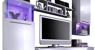 51kKe9H6cL 310x165 - trendteam Wohnzimmer Anbauwand Wohnwand Wohnzimmerschrank Punch, 228 x 183 x 47 cm in Korpus Weiß, Front Weiß Glanz mit LED Farbwechselbeleuchtung