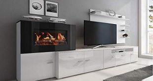 COMFORT Home Innovation Wohnmoebel mit elektrischem Kamin mit 5 Flammenstufen 310x165 - COMFORT Home Innovation- Wohnmöbel mit elektrischem Kamin mit 5 Flammenstufen, Oberfläche Mattweiß und Hochweiß lackiert, Maße: 290x170x45cm tief
