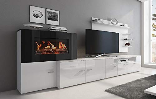 COMFORT Home Innovation Wohnmoebel mit elektrischem Kamin mit 5 Flammenstufen - COMFORT Home Innovation- Wohnmöbel mit elektrischem Kamin mit 5 Flammenstufen, Oberfläche Mattweiß und Hochweiß lackiert, Maße: 290x170x45cm tief